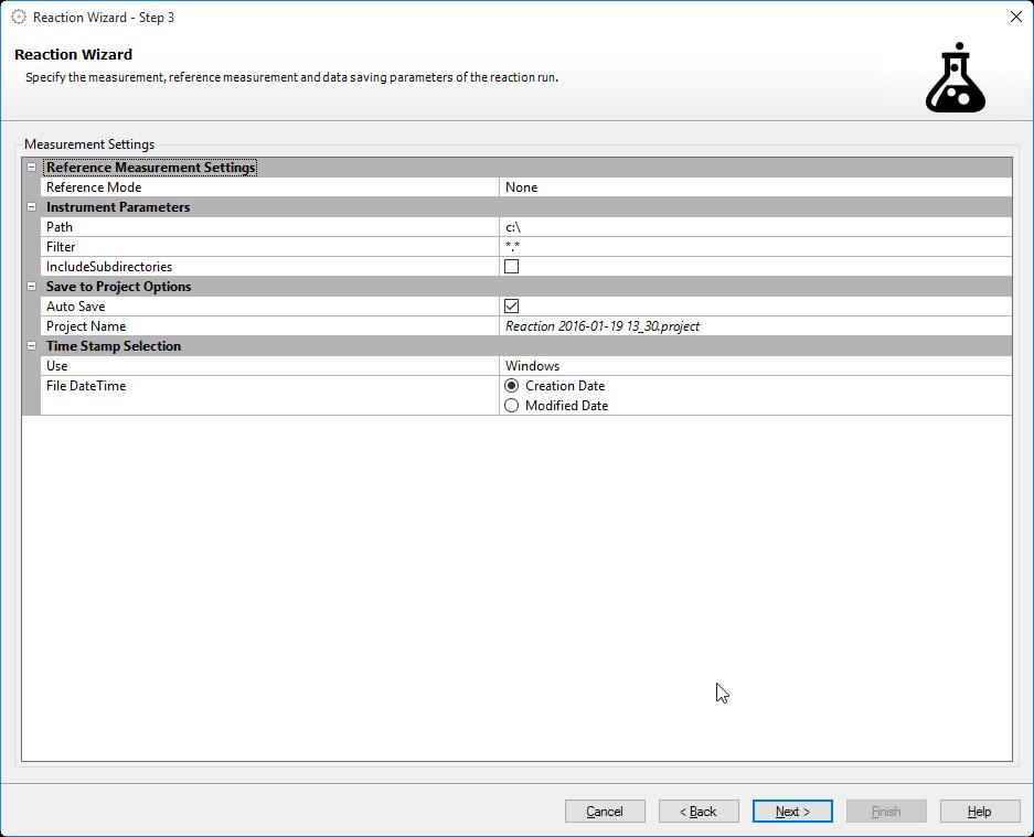 reaction wizard step 3 measurement data saving parameter en